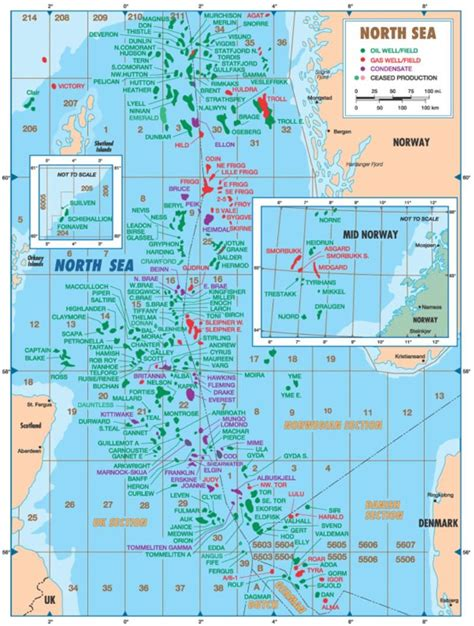 Map North Sea Oil Fields